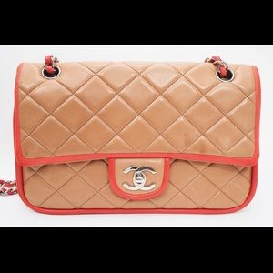 Chanel Classic Double Flap Bicolor Leather Bag